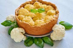 Healthy cauliflower pie on the gray plate decorated with fresh basil leaves. Vegetarian cauliflower tart on the gray background stock images