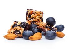 Healthy cereal bar with almonds and blueberries Stock Images