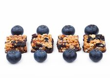 Healthy cereal bar with almonds and blueberries Royalty Free Stock Photo
