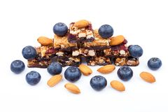 Healthy cereal bar with almonds and blueberries Royalty Free Stock Images