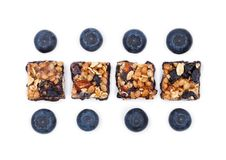Healthy cereal bar with almonds and blueberries Stock Photos