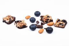 Healthy cereal bar with almond and blueberries Royalty Free Stock Photography