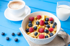 healthy cereal breakfast with coffee stock image