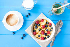 Healthy cereal breakfast with coffee royalty free stock photos