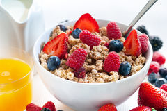 Healthy cereal breakfast with red fruits. Stock Photography