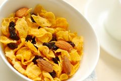Healthy cereal with raisins and almond nuts Royalty Free Stock Image
