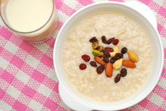 Healthy cereal and soya bean milk royalty free stock photography