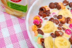 Healthy cereal topped with fruit and raisins Royalty Free Stock Images