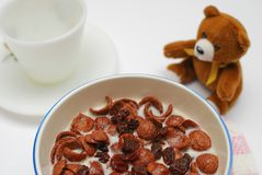 Healthy cereal topped with raisins Royalty Free Stock Photography