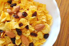 Healthy Cereal With Raisins And Nuts Stock Photos