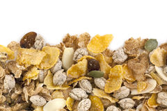 Healthy Cereals Border over White. Healthy breakfast cereals.  Border over white backround Royalty Free Stock Photos