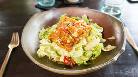 Healthy Cesar Salad with Tempeh. In Ubud, Indonesia Royalty Free Stock Photography