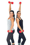 Healthy cheerful women with dumbbell Stock Photos