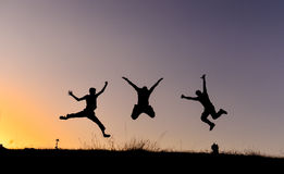 Healthy cheerful youth. To jump, hop, skip and jump Stock Images