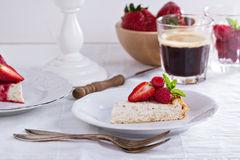 Healthy cheesecake with oats Stock Photos