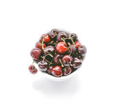 Healthy Cherries in white bowl. Fresh cherries isolated on white background Stock Photography