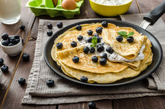 Healthy chia pancakes with blueberries Stock Photography
