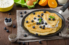 Healthy chia pancakes with blueberries Royalty Free Stock Photo
