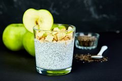 Healthy chia pudding with apples and granola in glass. Royalty Free Stock Image