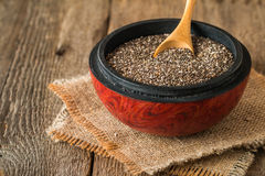 Healthy Chia seeds in a wooden bowl Royalty Free Stock Images