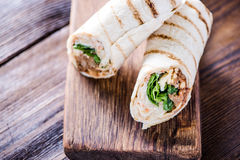 Healthy chicken grilled tortilla Stock Photography