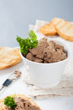 Healthy chicken liver pate with parsley in bawl Royalty Free Stock Photography