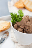 Healthy chicken liver pate with parsley in bawl Stock Photography