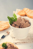 Healthy chicken liver pate with parsley in bawl Stock Photos