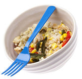 Healthy Chicken, Rice, Corn and Peppers Meal Stock Images