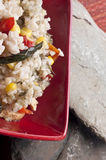 Healthy Chicken, Rice, Corn and Peppers Meal Stock Photos