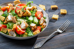 Healthy chicken salad with fresh vegetables Stock Photography