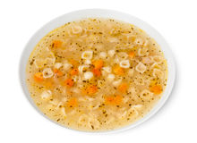 Healthy chicken soup on plate Royalty Free Stock Photography