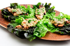Healthy chicken tenders wrapped in lettuce Royalty Free Stock Image