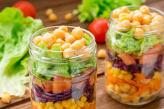 Healthy chickpea salad with fresh vegetable Stock Photography