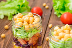 Healthy chickpea salad with fresh vegetable Stock Image