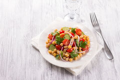 Healthy chickpeas salad with vegetables Royalty Free Stock Photos