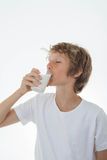 Healthy chid drinking glass of milk Stock Image