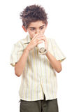 Healthy child drinking milk Stock Image