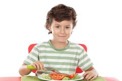 Healthy child eating Stock Photography