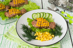 Healthy child food: rissole with corn as a goldfish Royalty Free Stock Image