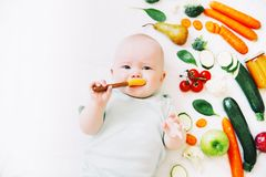 Healthy baby child nutrition, food background, top view. Royalty Free Stock Photo