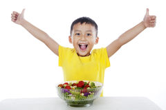 Healthy child with salad. Young boy with healthy salad, shot in studio isolated on white background Stock Images