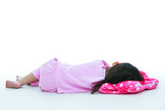 Healthy children concept. Back view of asian girl sleeping peace Stock Image
