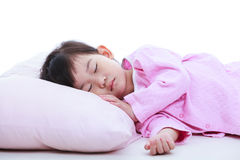Healthy children concept. Close up of asian girl sleeping peacef Stock Photo