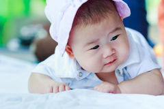 Healthy children. Cute crawling baby. Adorable baby girl Royalty Free Stock Photos