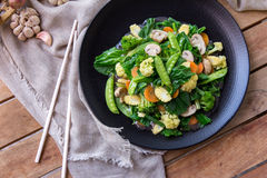 Healthy chinese food capcay. Top view portrait of healthy chinese food capcay Royalty Free Stock Photo