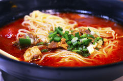 Healthy Chinese Tomato Beef Noodle Soup in Large Bowl. Stock Image