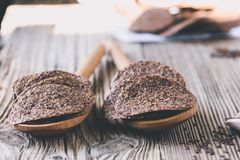 Healthy chips with  flax seeds Stock Images