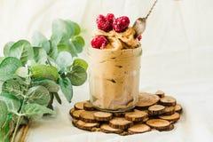Healthy chocolate banana ice cream, raspberries in a glass jar Stock Images