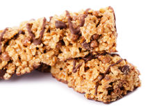 Healthy chocolate cereal bar munchies Stock Photos